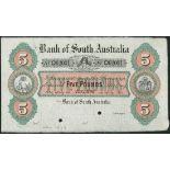 (†) Bank of South Australia, specimen £5, Adelaide, 1 July 1873, serial number O 62001, black, green
