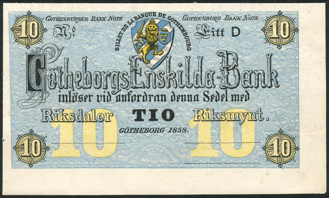 Gotheborgs Enskilda Bank, Sweden, obverse proof 10 Riksdaler, 1858, Litt D, no serial numbers, no