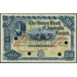 Union Bank of Australia Limited, colour trial £50, 1 March 1905, blue and yellow-green, Britannia