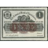 (†) Colonial Bank of Australia, printer's archival specimen, £1, Melbourne, 1 March 1893, serial run