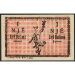 Dhoma Tregetare Beratit, Albania, 0.50 lire Italiane, May 1924, serial number 2065, red and