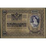 Austro-Hungarian Bank, 10,000 kronen, 2 November 1918, serial number 1008 59395, both sides purple