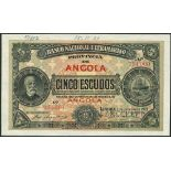 (†) Banco Nacional Ultramarino, Angola, printer's archival specimen 5 Escudos, 1 January 1921,