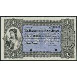 (†) El Banco de San Juan, Argentina, specimen 1 peso, 18- (1873), serial number C 20001, black