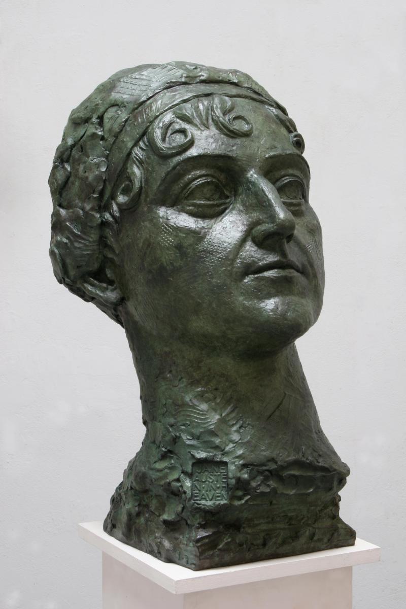 Sculpture:Nigel Boonham  Jane Austen in Heaven Bronze 66cm.; 26ins high by 42cm.; 16½ins wide by