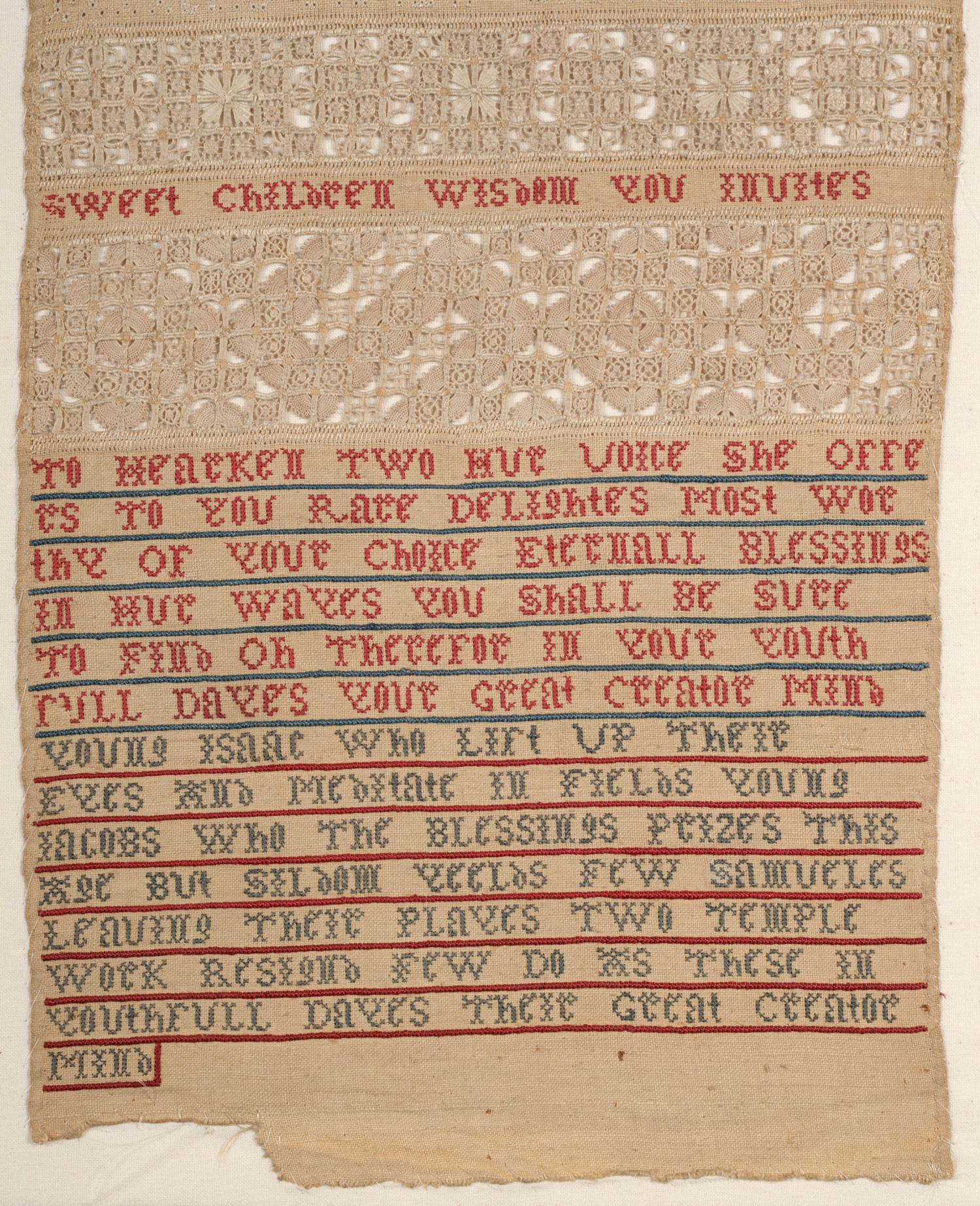 An Important Late 17th Century Quaker Band Sampler of Exceptional Quality, worked in coloured silk - Image 3 of 6