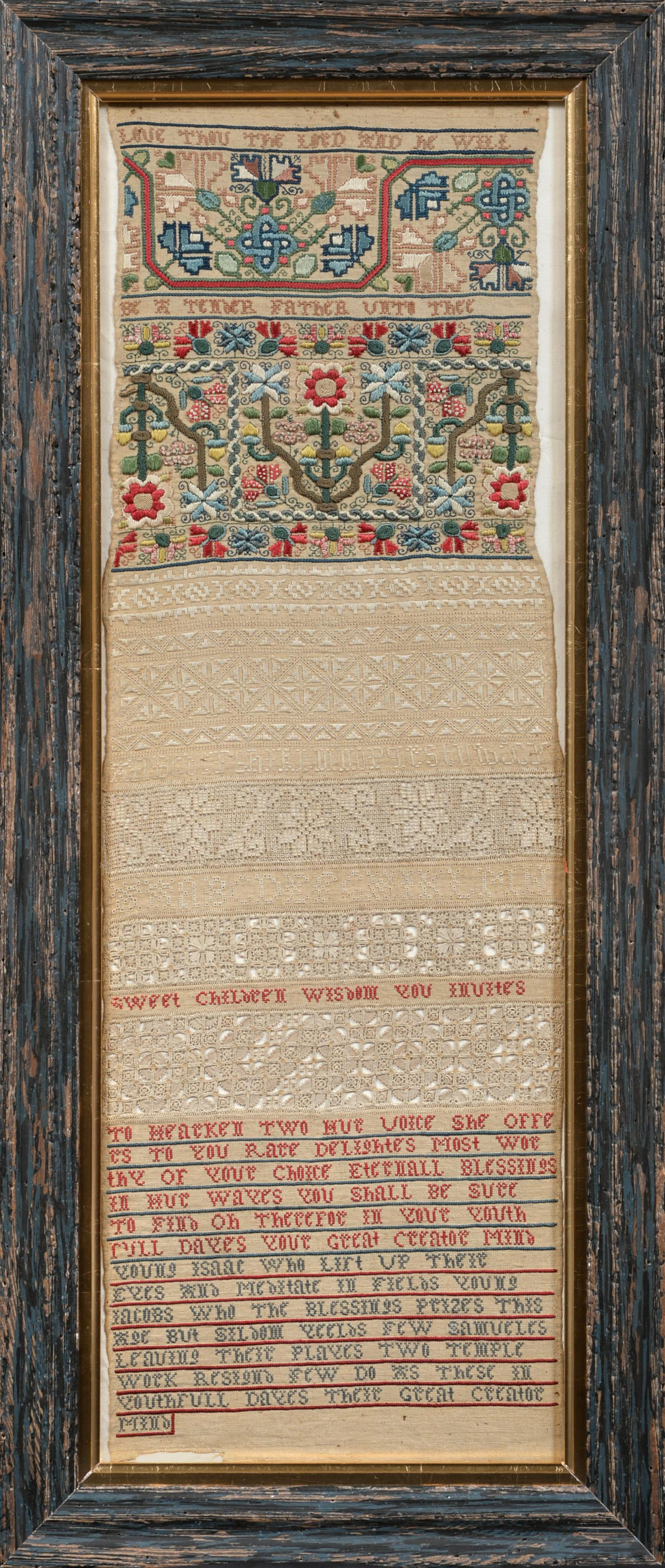 An Important Late 17th Century Quaker Band Sampler of Exceptional Quality, worked in coloured silk