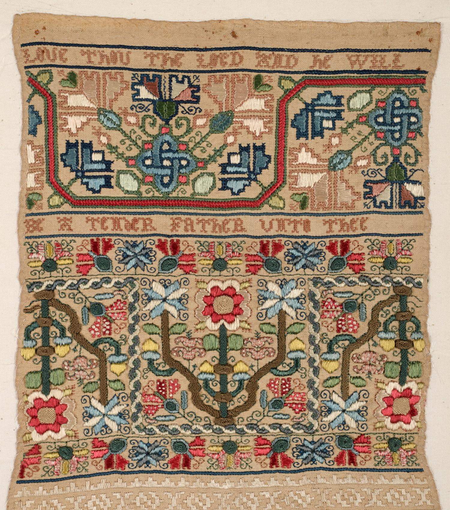 An Important Late 17th Century Quaker Band Sampler of Exceptional Quality, worked in coloured silk - Image 4 of 6