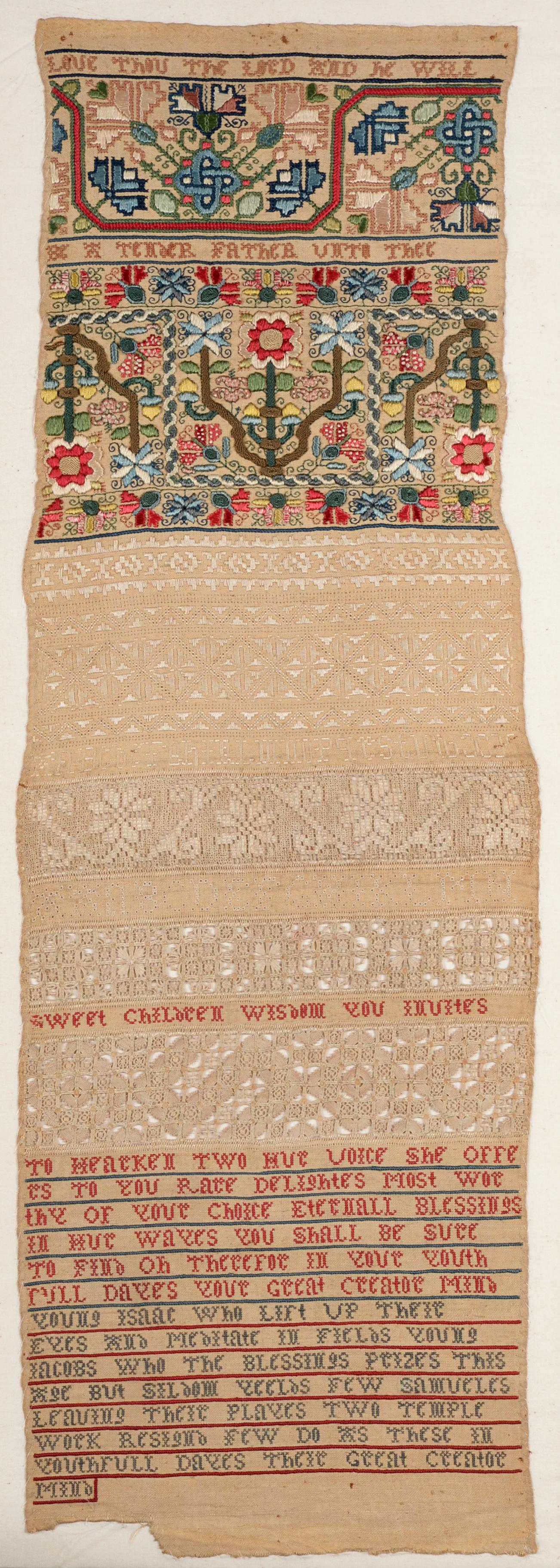 An Important Late 17th Century Quaker Band Sampler of Exceptional Quality, worked in coloured silk - Image 2 of 6