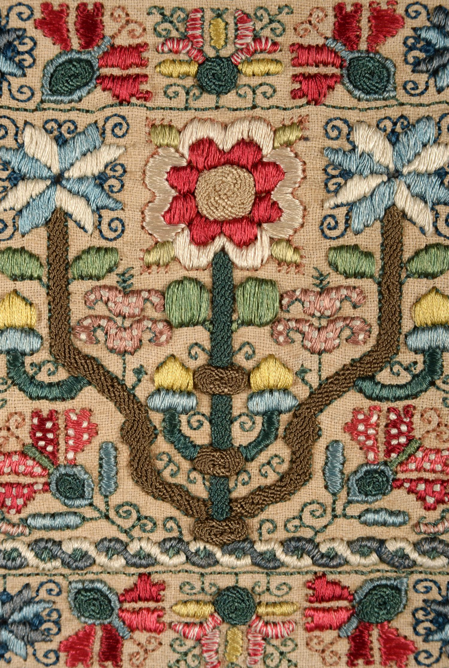 An Important Late 17th Century Quaker Band Sampler of Exceptional Quality, worked in coloured silk - Image 5 of 6