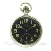 A GENTLEMAN'S NICKEL CASED ROLEX BRITISH MILITARY POCKET WATCH CIRCA 1930s D: Black enamel dial with