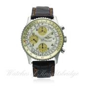 A GENTLEMAN'S STAINLESS STEEL BREITLING NAVITIMER AUTOMATIC CHRONOGRAPH WRIST WATCH CIRCA 1990s,