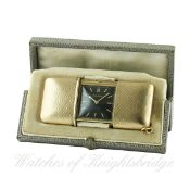 A RARE 9CT SOLID GOLD MOVADO EMERTO CHRONOMETER TRAVEL WATCH CIRCA 1930s IN ORIGINAL FITTED BOX D: