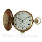 A GENTLEMAN'S 9CT GOLD FULL HUNTER QUARTER REPEATER POCKET WATCH CIRCA 1920s D: White enamel dial