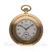 AN 18K SOLID GOLD & ENAMEL CYMA POCKET WATCH CIRCA 1920s D: Silver dial with black Arabic