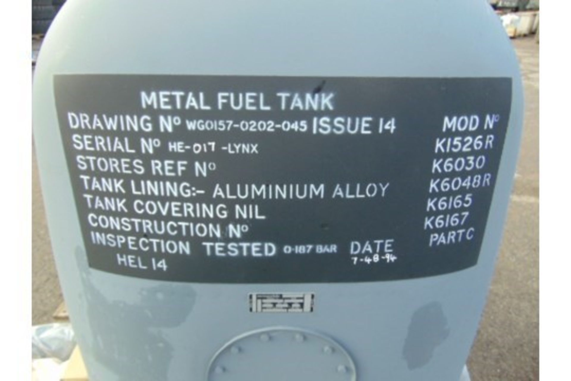 Lot 26582 - Unissued Lynx Helicopter Fuel Tank Assy complete with fitting kit