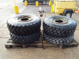 Lot 13607 - 4 x Michelin XZL 365/85 R20 Tyres with Runflat Inserts and 10 Stud Rims