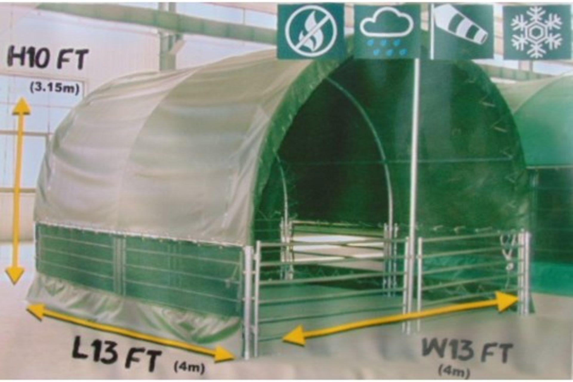 Lot 26811 - Heavy Duty Gated Livestock Shelter 13'W x 13'L x 10' H P/No LS1313