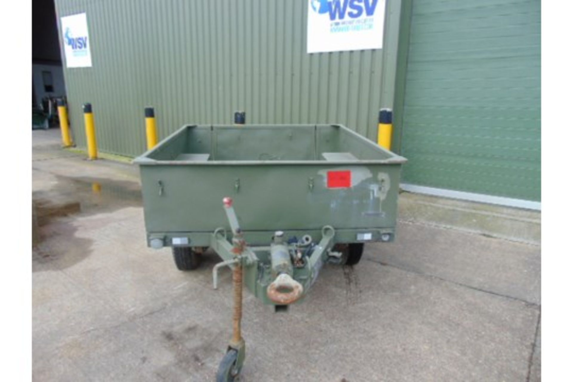 Lot 26597 - Sankey 3/4 ton widetrack trailer with dropdown tailgate, military lighting and tow ring, drum brakes