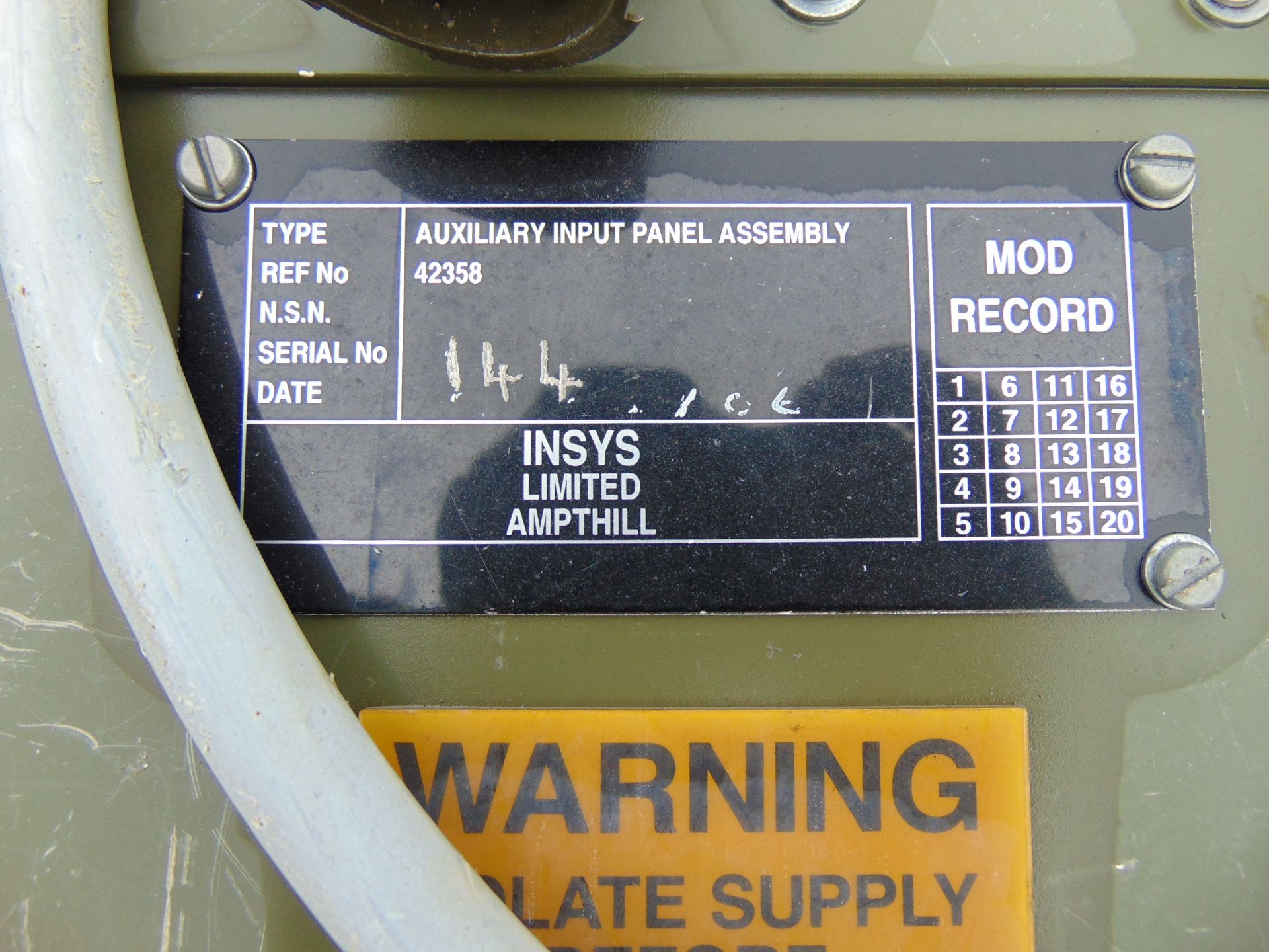 Lotto 26433 - Insys Auxiliary Input Panel Assembly