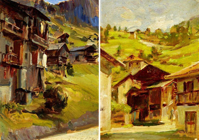 """Erler Giulio Ettore 1876 Treviso - 1964 """"Alleghe - Belluno"""". 2 Oelstudien auf Holz. Beide verso"""