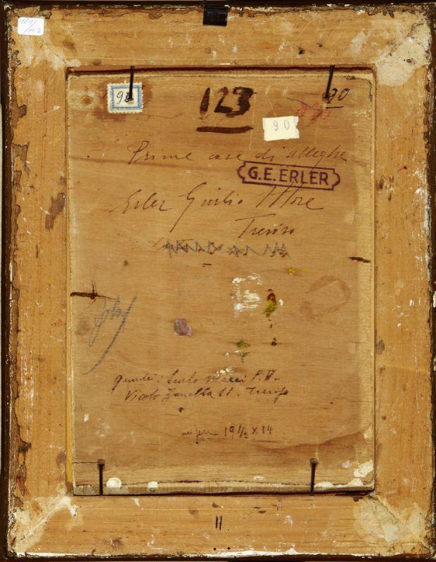 """Erler Giulio Ettore 1876 Treviso - 1964 """"Alleghe - Belluno"""". 2 Oelstudien auf Holz. Beide verso - Image 4 of 5"""