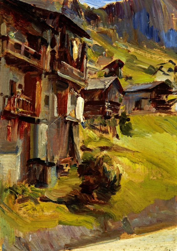 """Erler Giulio Ettore 1876 Treviso - 1964 """"Alleghe - Belluno"""". 2 Oelstudien auf Holz. Beide verso - Image 2 of 5"""