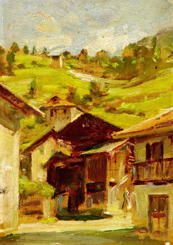 """Erler Giulio Ettore 1876 Treviso - 1964 """"Alleghe - Belluno"""". 2 Oelstudien auf Holz. Beide verso - Image 3 of 5"""