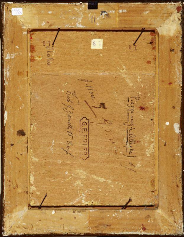 """Erler Giulio Ettore 1876 Treviso - 1964 """"Alleghe - Belluno"""". 2 Oelstudien auf Holz. Beide verso - Image 5 of 5"""