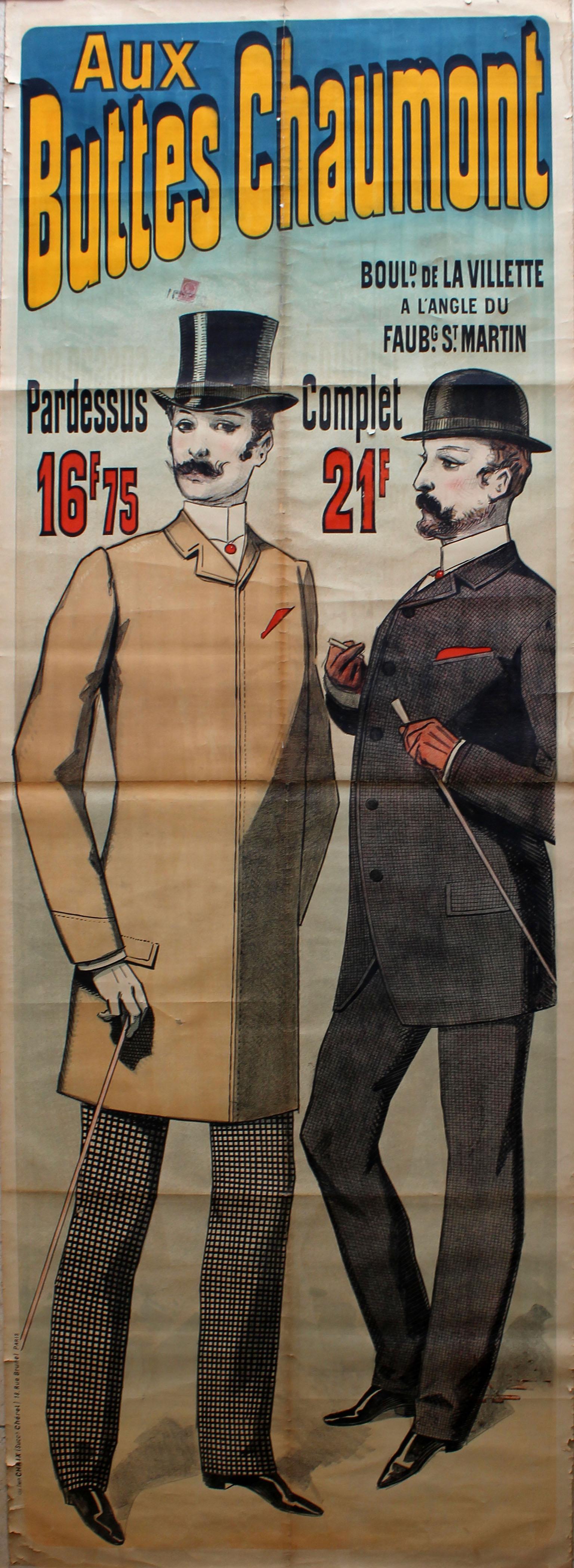 Advertising Poster Aux Buttes Chaumont Paris Cheret