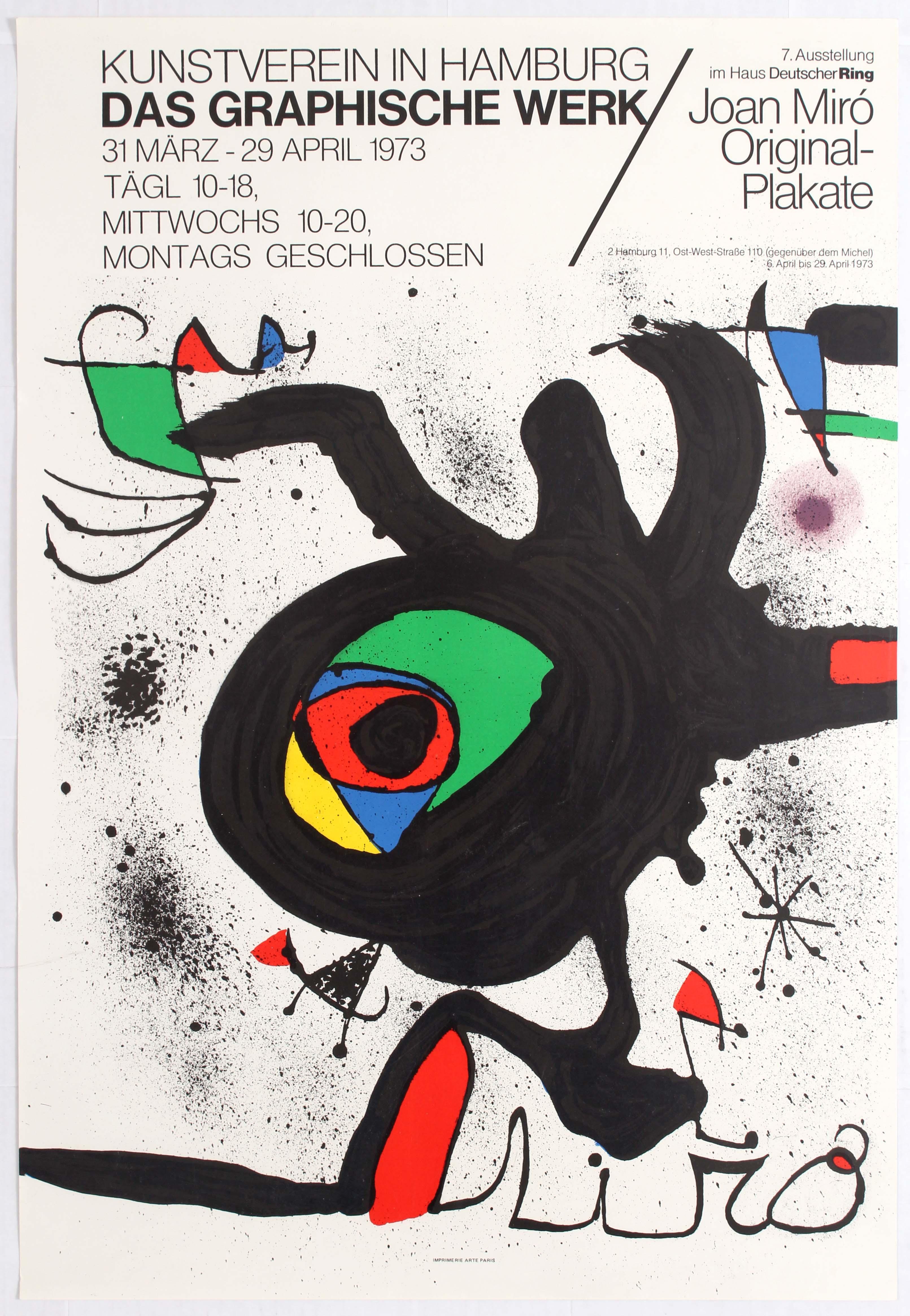 Exhibition Advertising Poster Miro Hamburg 1973