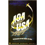 Advertising Poster American Overseas Airlines Midcentury