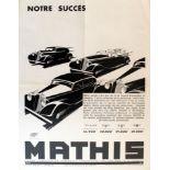 Advertising Poster Mathis 4 Models Car Art Deco Convertible