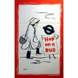 Original Vintage Advertising Poster LT London Transport: Hop on a Bus - snow