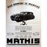 Advertising Poster Mathis 5CV Car Art Deco Convertible