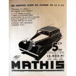 Advertising Poster Mathis 5CV Car Art Deco