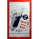 Original Vintage Poster LT London Transport: Hop on a Bus - wind