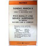 Original London Underground Poster Piccadilly Line WWII