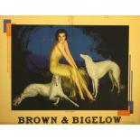 Original advertising poster Brown Bigelow Armstrong Art Deco Russian Borzoi Dogs
