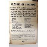 Original London Underground Poster Station Closure 1939