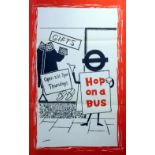 Original Vintage Poster LT London Transport: Hop on a Bus shop