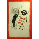 Original Vintage Poster LT London Transport: Hop on a Bus - rain