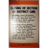 Original London Underground Poster District Line WWII
