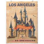 Advertising Poster Los Angeles Disneyland Greyhound