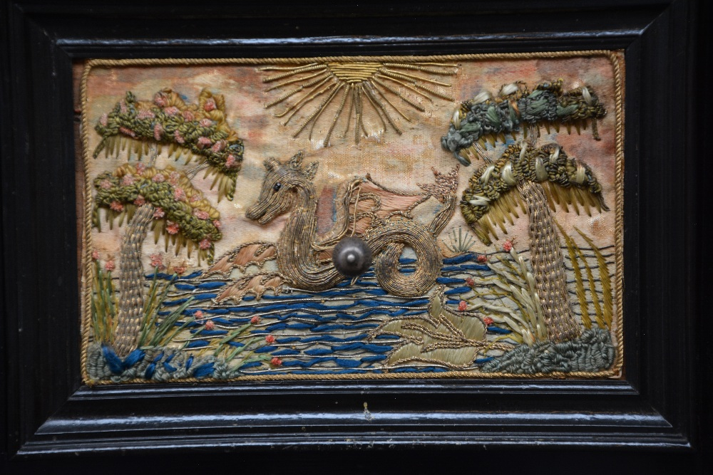 An exceptional 17thC Flemish ebony and rosewood cabinet-on-stand, silk embroidered inside, the - Image 7 of 30