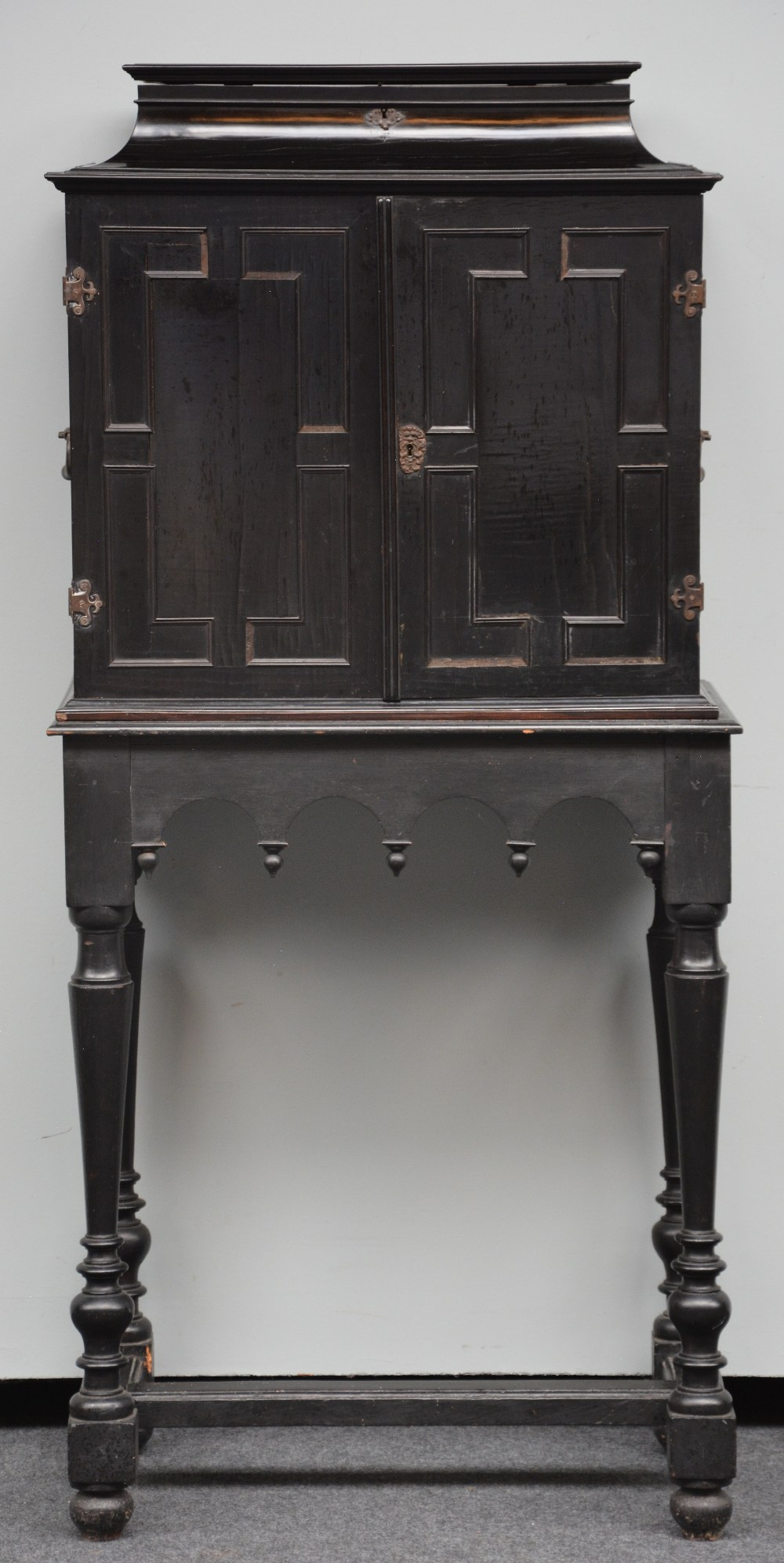 An exceptional 17thC Flemish ebony and rosewood cabinet-on-stand, silk embroidered inside, the - Image 2 of 30