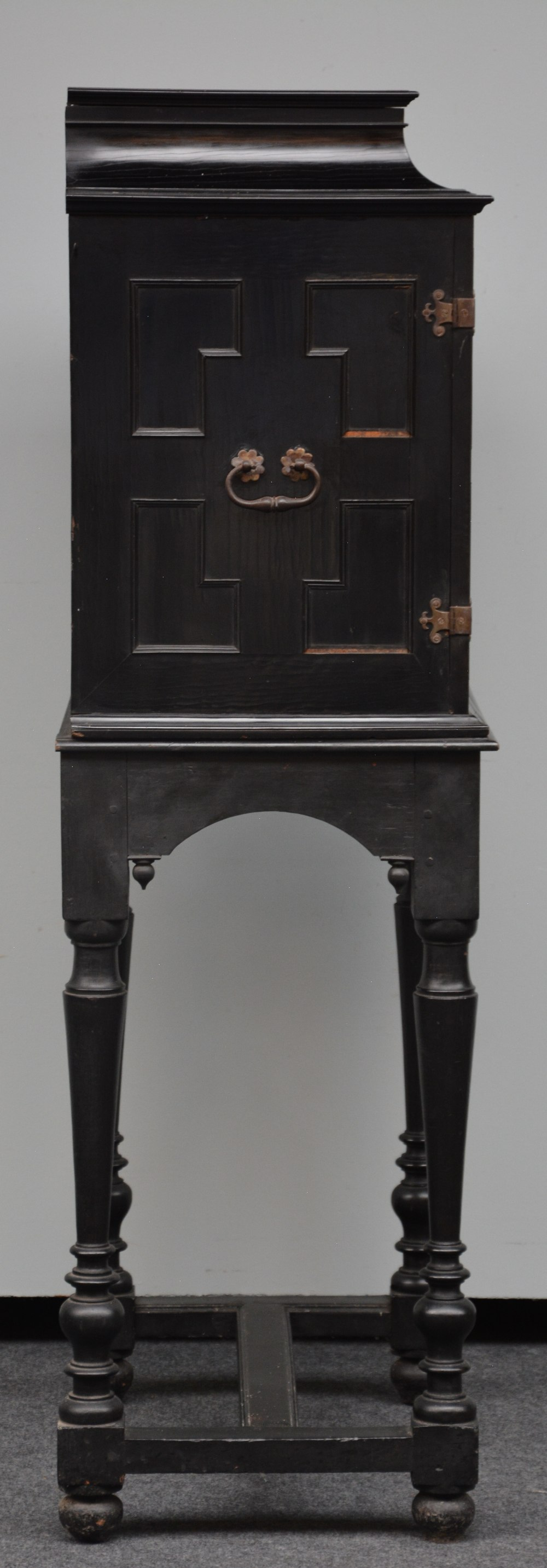 An exceptional 17thC Flemish ebony and rosewood cabinet-on-stand, silk embroidered inside, the - Image 18 of 30
