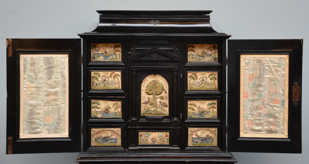 An exceptional 17thC Flemish ebony and rosewood cabinet-on-stand, silk embroidered inside, the - Image 11 of 30