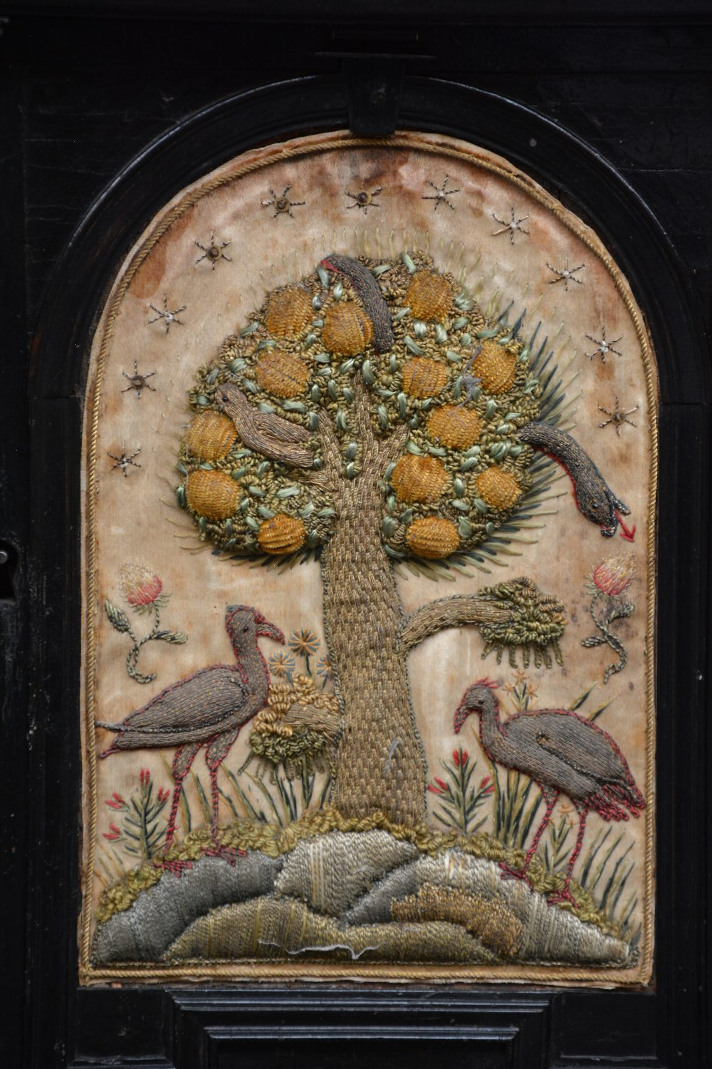 An exceptional 17thC Flemish ebony and rosewood cabinet-on-stand, silk embroidered inside, the - Image 6 of 30