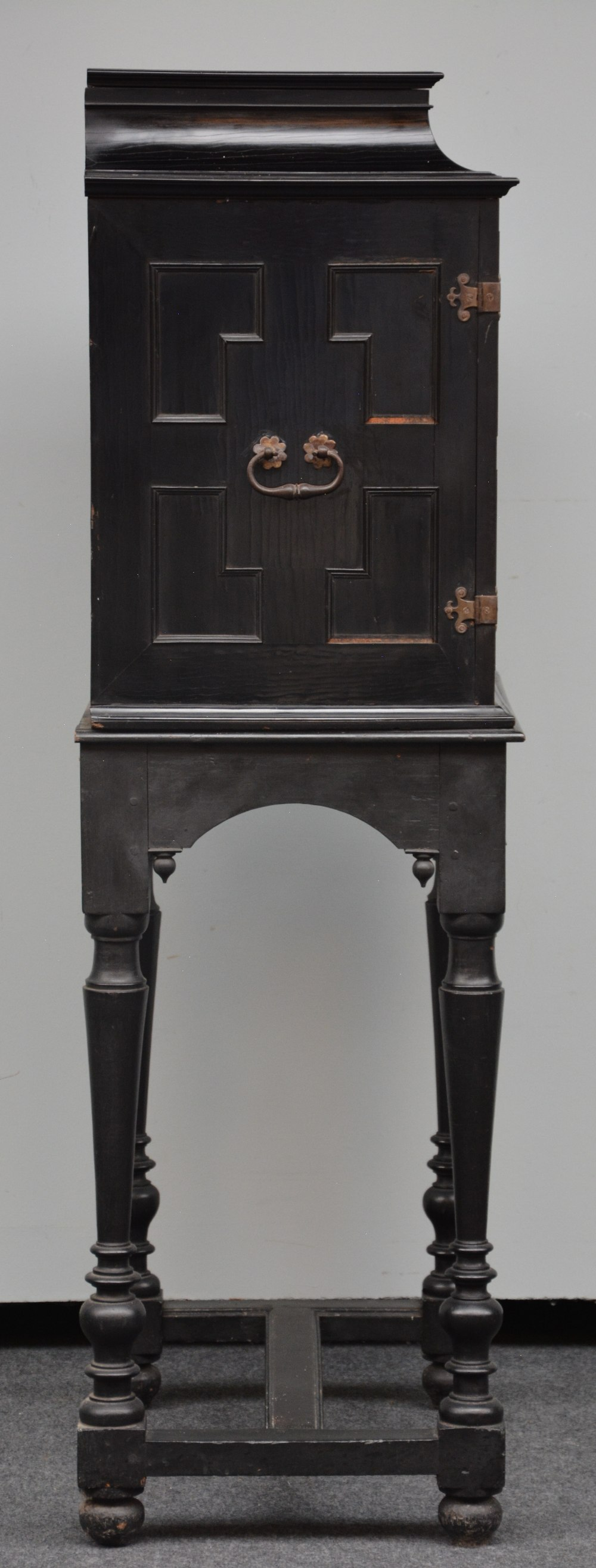 An exceptional 17thC Flemish ebony and rosewood cabinet-on-stand, silk embroidered inside, the - Image 16 of 30